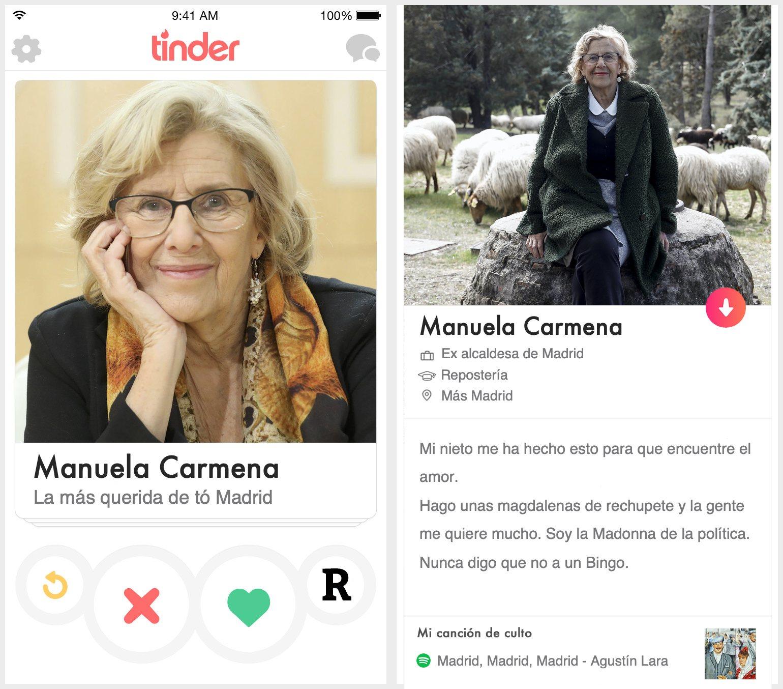 Perfil de Tinder de Manuela Carmena