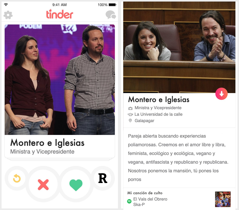 Perfil de Tinder dePablo Iglesias e Irene Montero