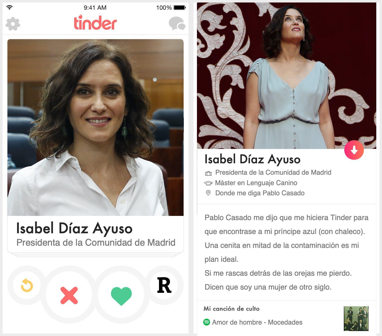 Perfil de Tinder de Isabel Díaz Ayuso