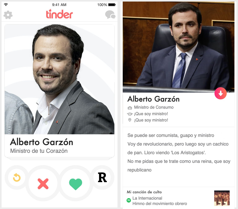 Perfil de Tinder de Alberto Garzón
