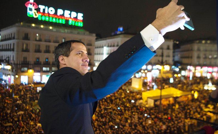 Juan Guaidó durante su visita a Madrid