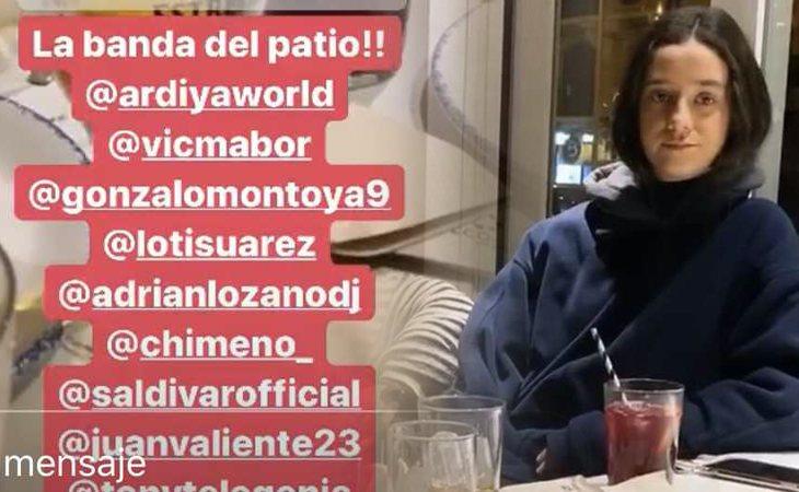 Victoria Federica en la cena, junto a la lista de invitados entre los que se encuentra Gonzalo Montoya ('La isla de las tentaciones')