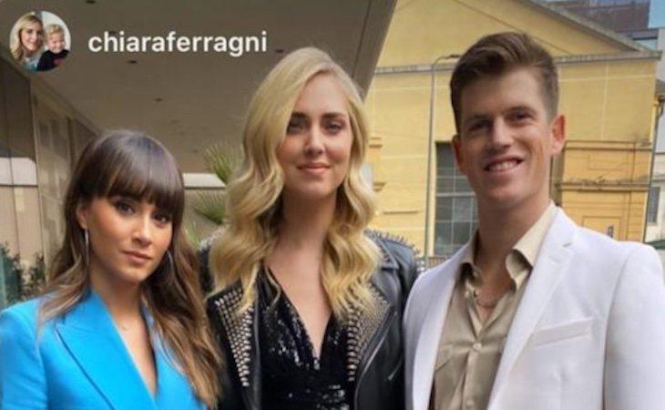 Aitana Ocaña y Miguel Bernardeau junto a Chiara Ferragni en Milán