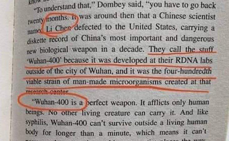 Página del libro en la que se habla sobre Wuhan