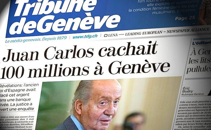 Portada de Tribune Genève con el nuevo escándalo del rey Juan Carlos