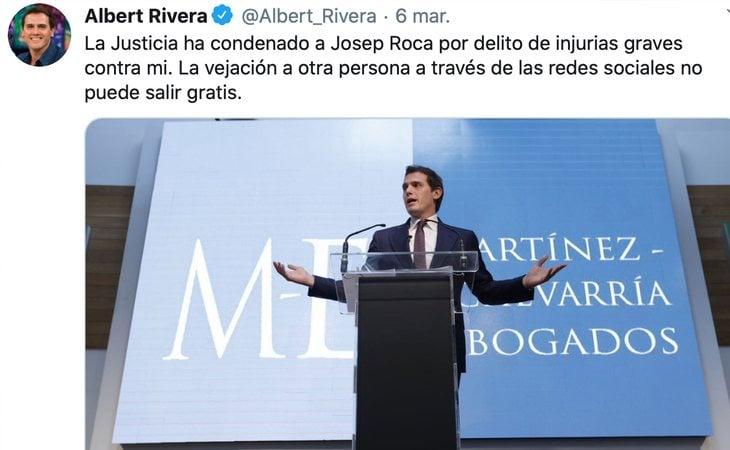 Albert Rivera celebra la condena