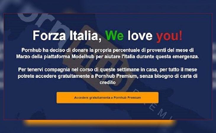 Cualquier persona que acceda a PornHub con una IP italiana recibirá este mensaje y podrá consumir todo su contenido de forma gratuita