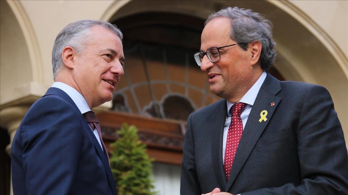 El lehendakari Íñigo Urkullu y el president de la Generalitat, Quim Torra, contrarios al estado de alarma: consideran que centraliza competencias y ...