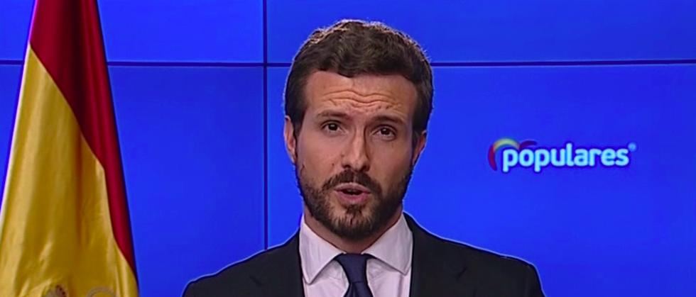 Pablo Casado comparece y critica la gestión del Pedro Sánchez.