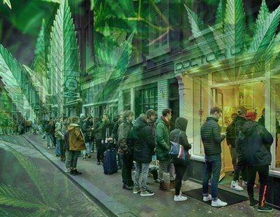 Enormes colas en los Coffe-Shops de Holanda para comprar provisiones de marihuana por el coronavirus