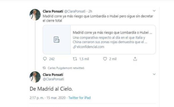 Horas más tarde de publicar el tweet, Clara Ponsatí borró el mensaje