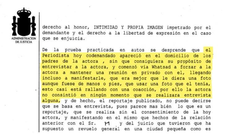 Un fragmento de la sentencia a la que tuvo acceso eldiario.es