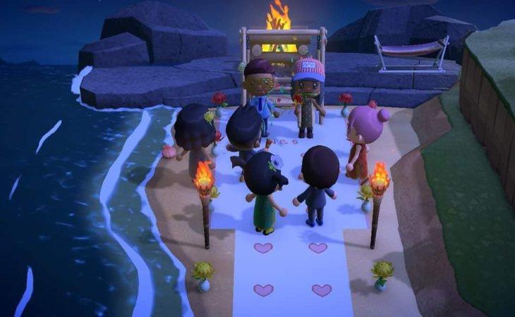 La boda celebrada en el juego de 'Animal Crossing'