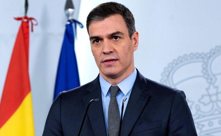 Pedro Sánchez durante su comparecencia ante los medios de comunicación