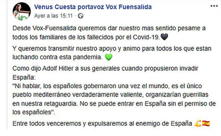 Mensaje de la concejala de VOX citando a Adolf Hitler