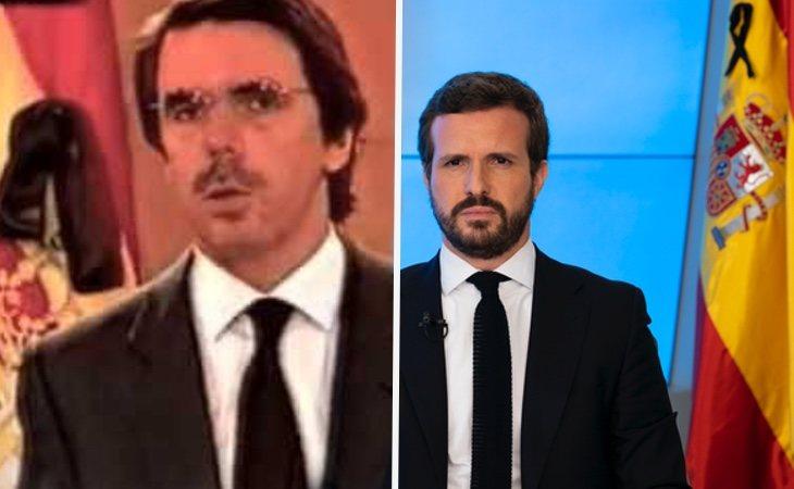 Casado ha mostrado una escenografía similar a la de Aznar durante el 11-M en sus comparecencias por el coronavirus