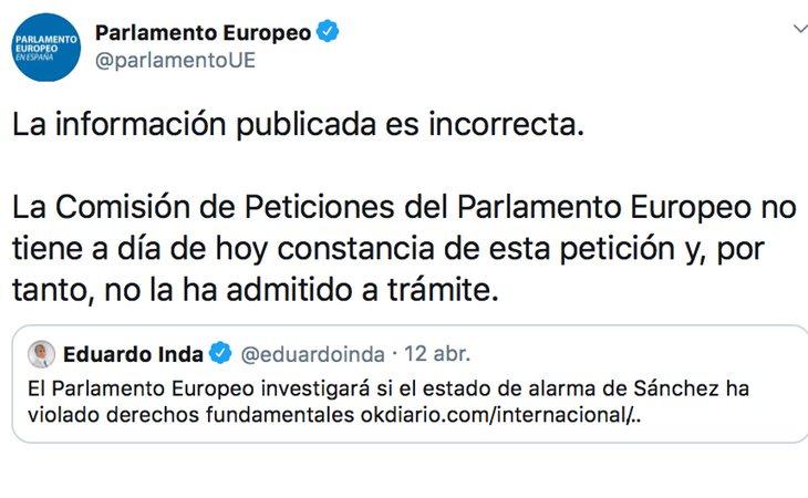 El Parlamento Europeo desmiente a Eduardo Inda