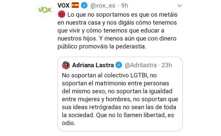 Tuit de VOX acusando al PSOE de promover la pederastia