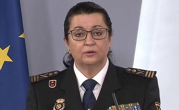 María Pilar Allué, comisaria principal y jefa de personal de la Policía Nacional, en rueda de prensa