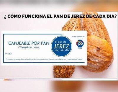 El PP de Jerez regala cupones de un euro para el pan con el logo del partido a personas pobres