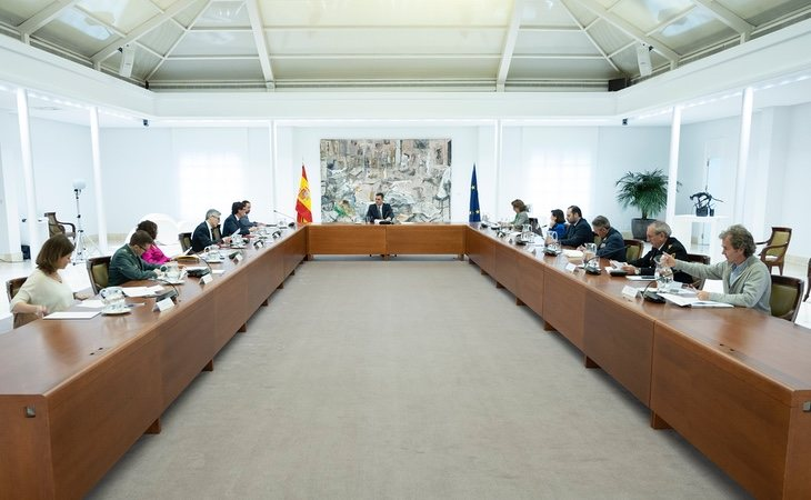 Pedro Sánchez, durante la reunión del Comité de Gestión Técnica del Coronavirus