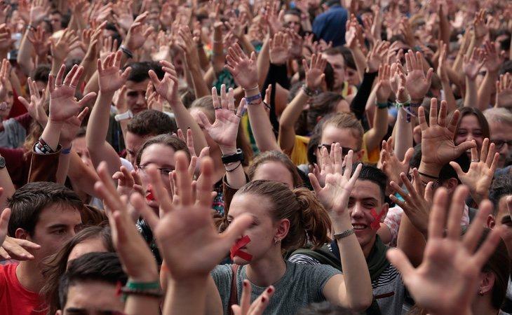 Los convocantes han organizado una concentración en el centro de Barcelona en pleno estado de alarma