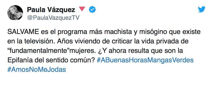 Tuit de Paula Vázquez contra 'Sálvame'