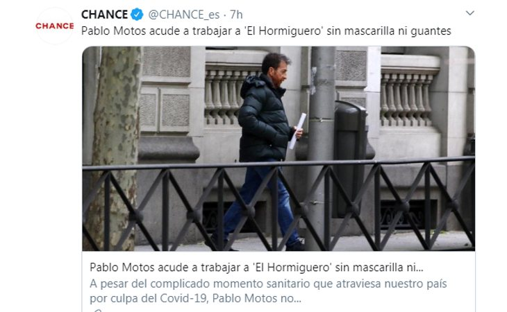Pablo Motos acude sin mascarilla a 'El Hormiguero'