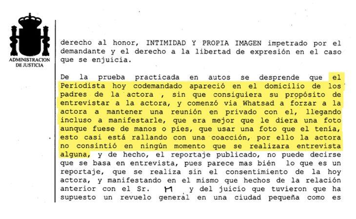Fragmento de la sentencia contra Javier Negre y El Mundo
