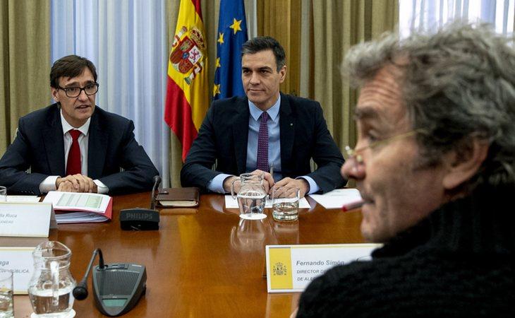 Salvador Illa, Pedro Sánchez y Fernanado Simón