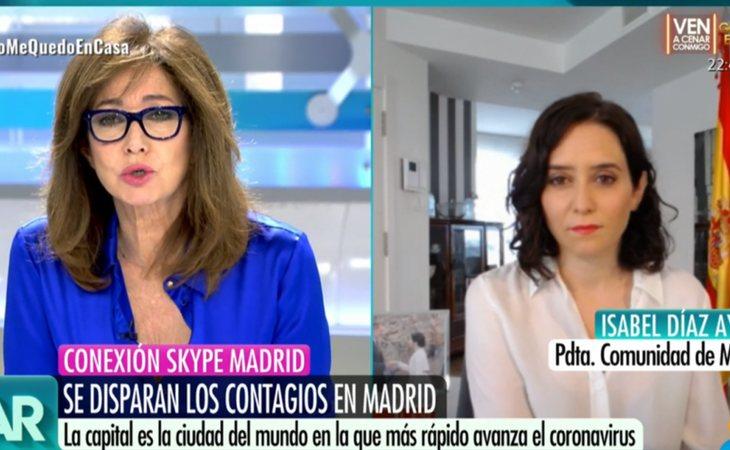 Isabel Díaz Ayuso durante una conexión con 'El programa de Ana Rosa'