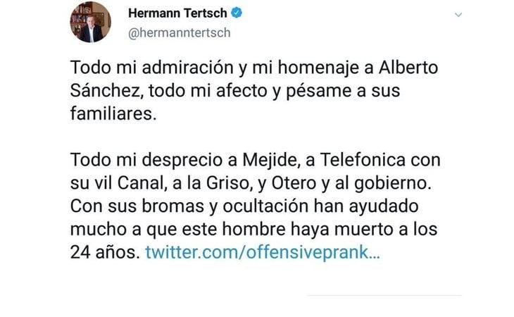 Tuit de Hermann Terstch picando en el bulo de Jordi ENP