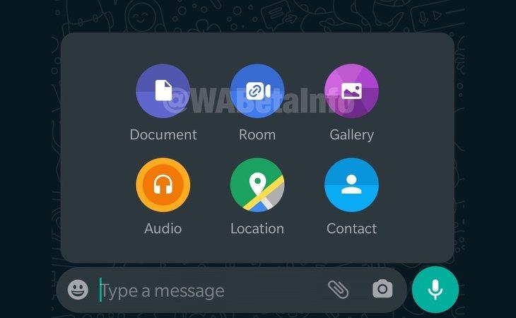 El icono situado en la mitad de la parte superior, 'Room', será añadido para las conversaciones con hasta 50 usuarios | WaBetaInfo
