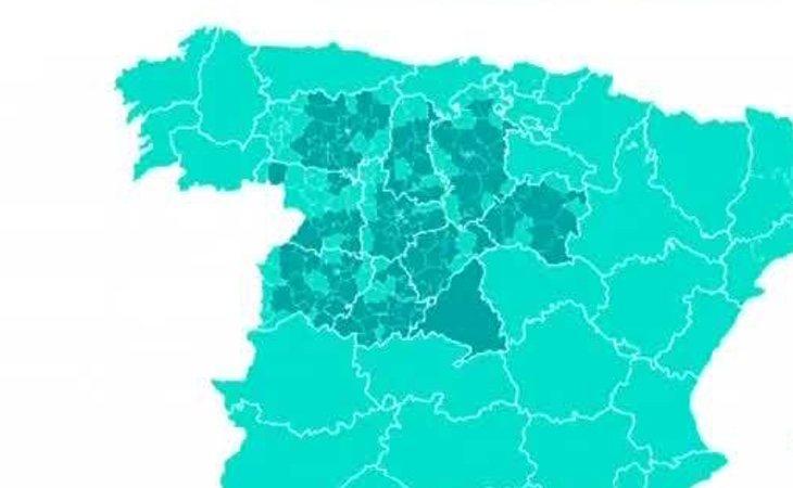 Castilla y León pasará a la fase 1 en las áreas sombreadas