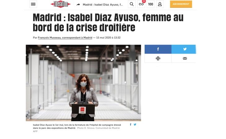 La presidenta de la Comunidad de Madrid, Isabel Díaz Ayuso, en Libération