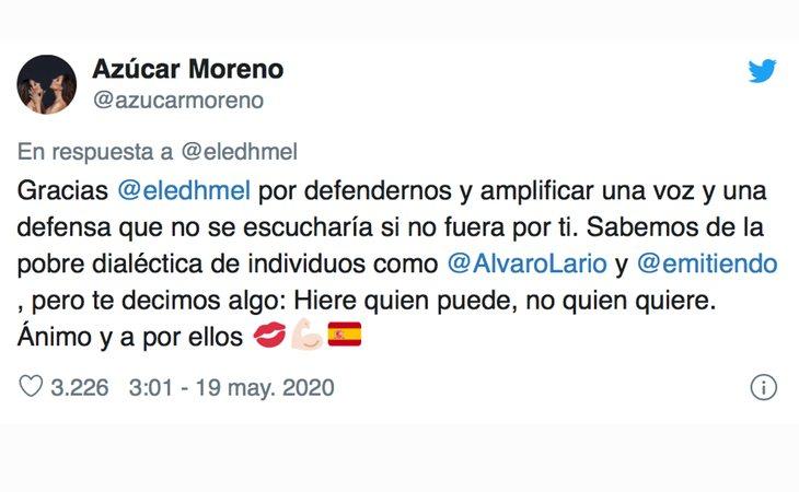 Mnesaje de apoyo de Azúcar Moreno a Carla Toscano, diputada de VOX