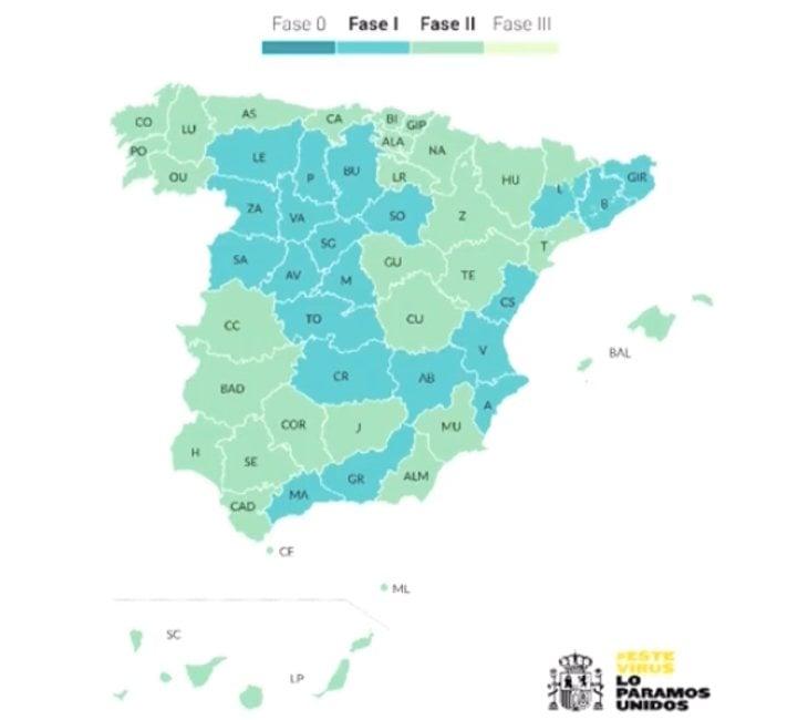 Así queda el mapa de España en el plan de desescalada