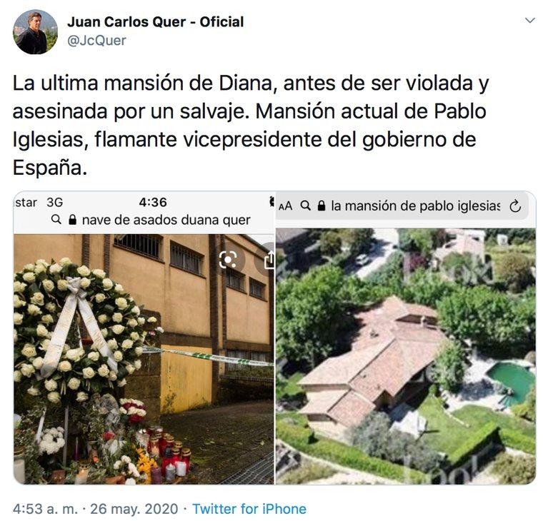 Mensaje de Juan Carlos Quer contra Pablo Iglesias comparando la muerte de su hija con el chalet de Galapagar