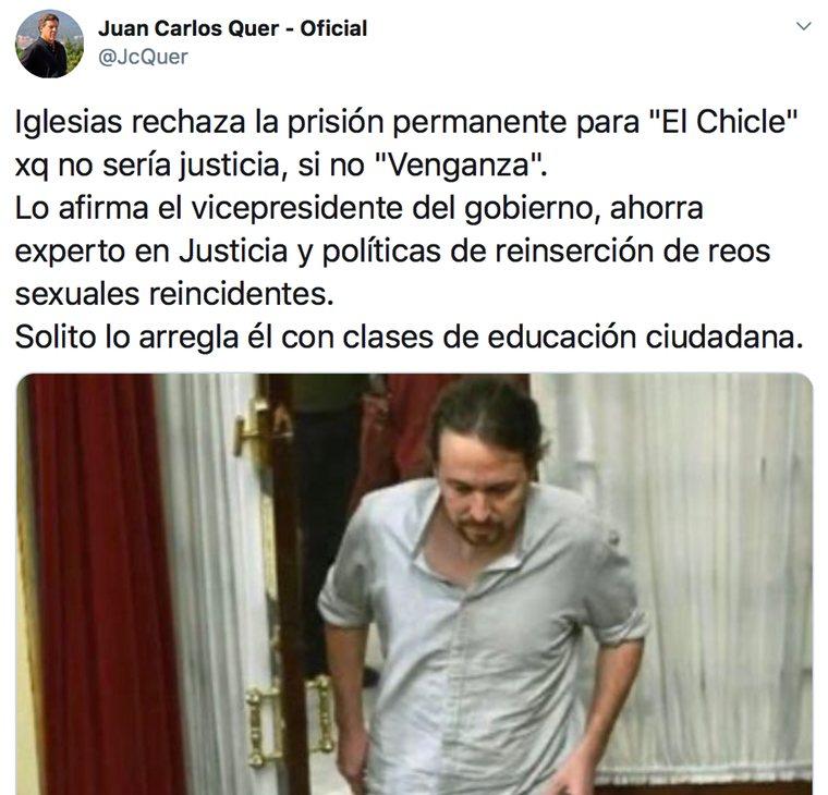 Juan Carlos Quer critica a Pablo Iglesias por oponerse a la prisión permanente revisable