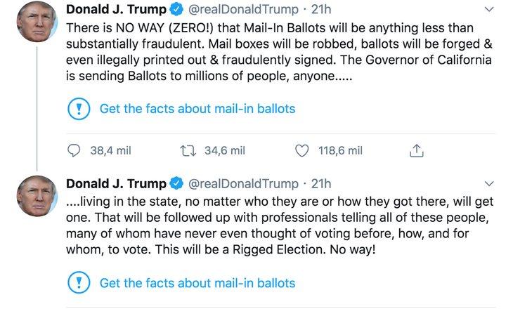 Mensajes de Donald Trump en Twitter con las alertas de contenido engañoso