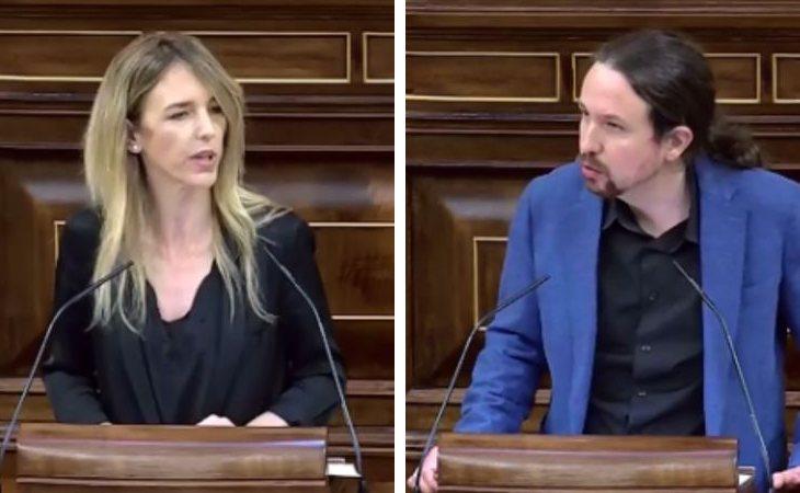 Cayetana Álvarez de Toledo y Pablo Iglesias durante su enfrentamiento en el Congreso de los diputados