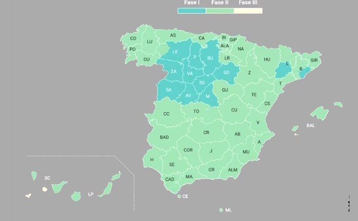 Así queda España a partir del próximo lunes