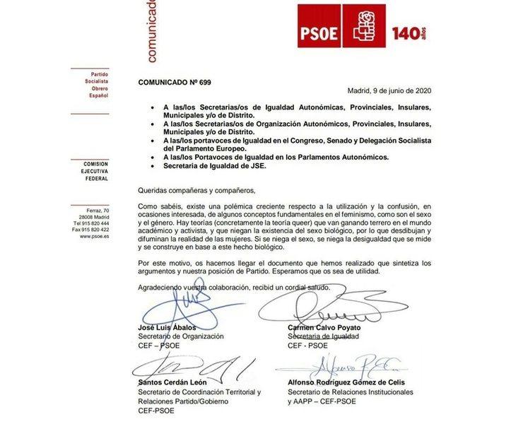 La circular interna del PSOE