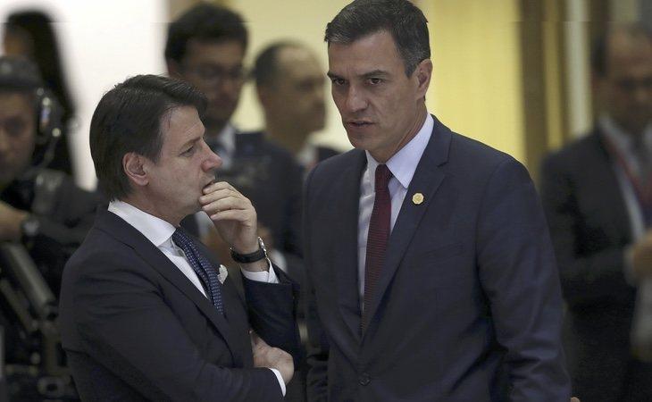 Pedro Sánchez hace frente común con Giuseppe Conte en Europa