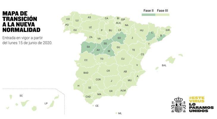 Así quedará el mapa de España a partir del 15 de junio, con Galicia ya en la 'nueva normalidad'