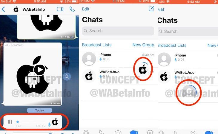 La nota de audio se transforma en una burbuja que siempre permanece en la pantalla y podemos mover libremente mientras escuchamos el mensaje