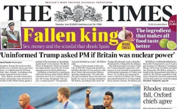 Portada de The Times dedicada el rey Juan Carlos