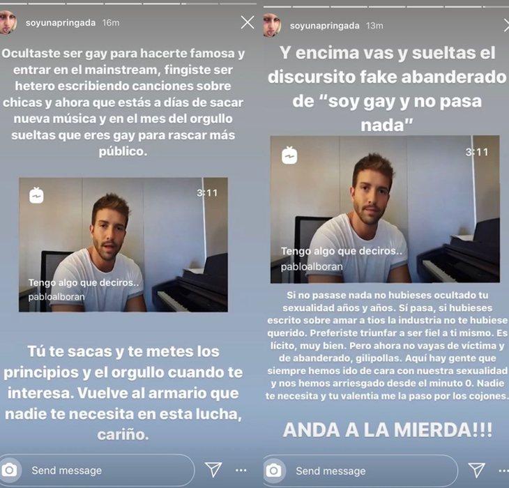 Mensajes de Soy una pringada atacando a Pablo Alborán