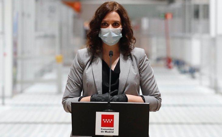 Isabel Díaz Ayuso, durante el acto de clausura de Ifema y a pocos días de anunciar uno de sus primeros recortes tras la pandemia, en el Hospital Niño Jesús