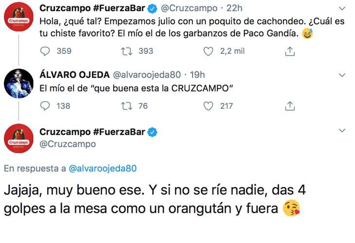 Álvaro Ojeda intenta hacese el gracioso con Cruzcampo en Twitter pero le sale mal